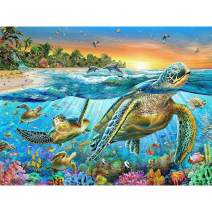 5D Diamond Painting Sea Turtles Full Drill by Number Kits, Ginfonr Craft Rhinestone Paint with Diamonds Set Tortoise Arts Decorations (12x16inch)