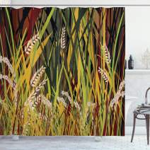 """Ambesonne Nature Shower Curtain, Reeds Dried Leaves Wheat River Wild Plant Forest Farm Country Life Art Print Image, Cloth Fabric Bathroom Decor Set with Hooks, 70"""" Long, Yellow Burgundy"""