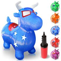WALIKI Bouncy Horse Hopper | Benny The Jumping Bull Inflatable Hopping Pony for Toddlers | Blue