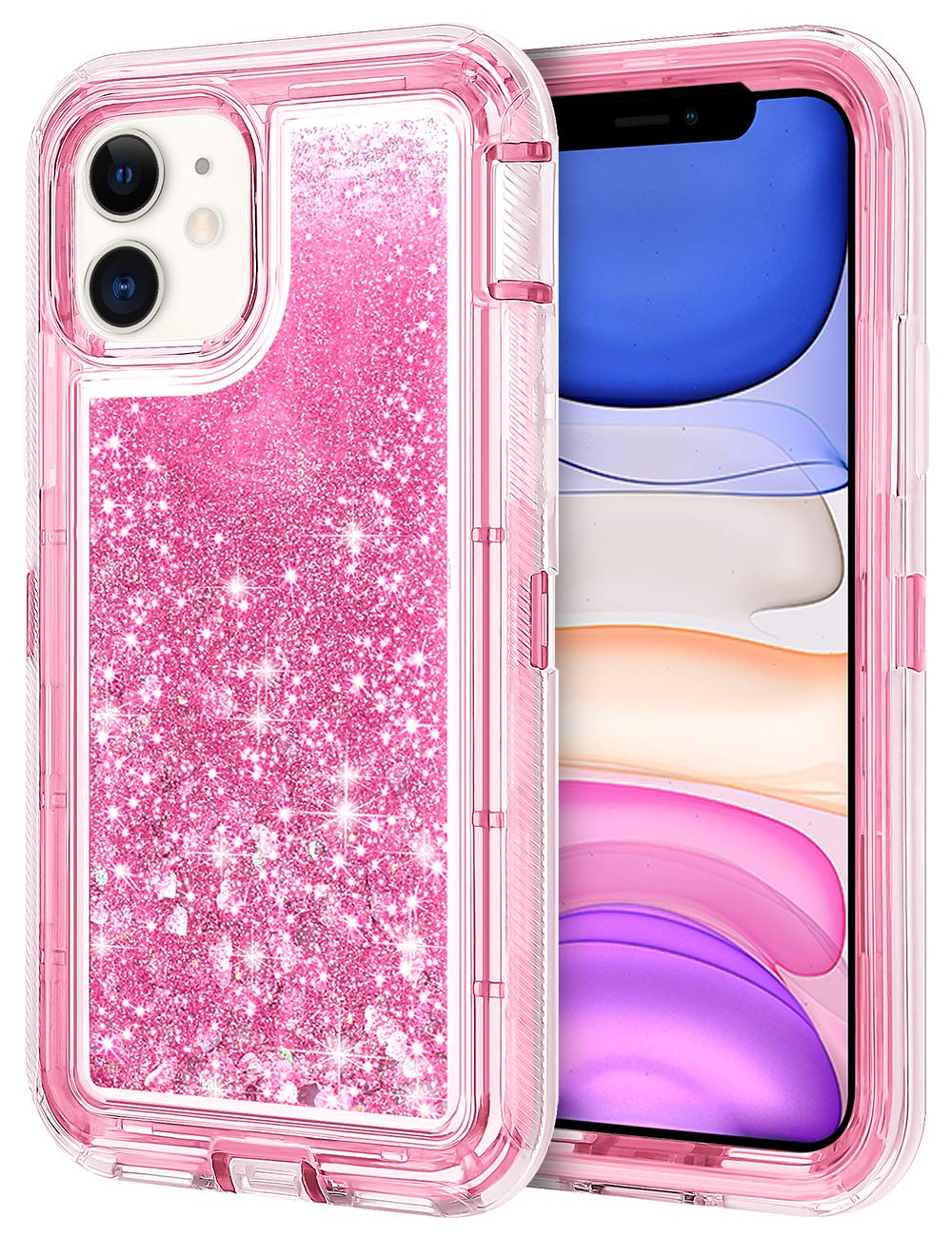 JAKPAK Case for iPhone 11 Case for Girls Women Glitter Sparkle iPhone 11 Case Heavy Duty Shockproof Protective Shell with Dual Layer Hard PC Bumper TPU Back Cover for iPhone 11 6.1 inches Pink