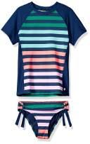 next Girls' Short Sleeve Rashguard & Tubular Bikini Bottom Swimsuit Set