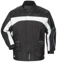 Tourmaster Men's Elite 3 Rain Motorcycle Jacket - Vented Waterproof Riding Jacket with Heavy-Duty Nylon Shell, Black/White, Large