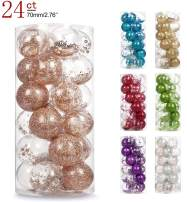 """AMS 2.76""""/24ct Shatterproof Clear Plastic Christmas Ball Ornaments Decorative Xmas Balls Baubles Set with Stuffed Delicate Decoration (70mm Champagne)"""