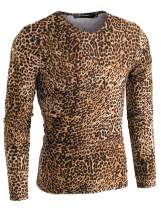 Lars Amadeus Men's Vintage Leopard Printed Top Lightweight Slim Fit Long Sleeves Pullover T Shirt