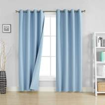 "Rama Rose Three Pass Microfiber Noise Reducing Blackout Curtains Room Darkening Grommets Window Curtains for Living Room Bedroom,54"" W x 96"" L,1 Panel,(Baby Blue)"