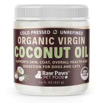 Raw Paws Organic Virgin Coconut Oil for Dogs & Cats, 16-oz - Supports Immune System, Digestion, Oral Health, Thyroid - All Natural Allergy Relief for Dogs, Hairball Relief, Tick Flea Control for Dogs