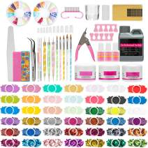 Nail Kit Set Professional Acrylic with Everything, Acrylic Nail Kit for Beginners 42 Colors Glitter Acrylic Powder and Liquid Monomer Set with Nail Tips for Nail Art DIY