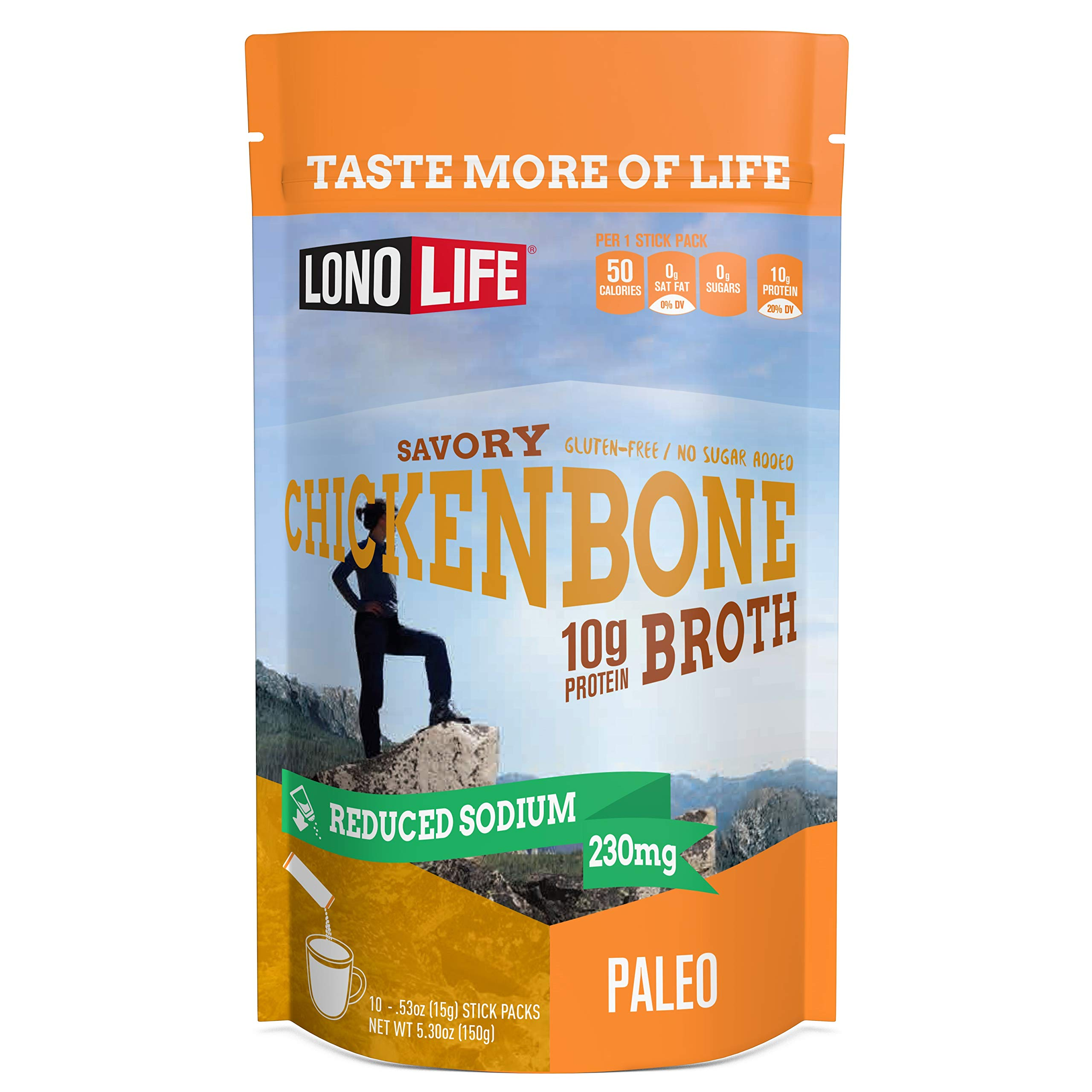 LonoLife Reduced Sodium Chicken Bone Broth Powder with 10g Protein, Paleo and Keto Friendly, Stick Packs, 10 Count