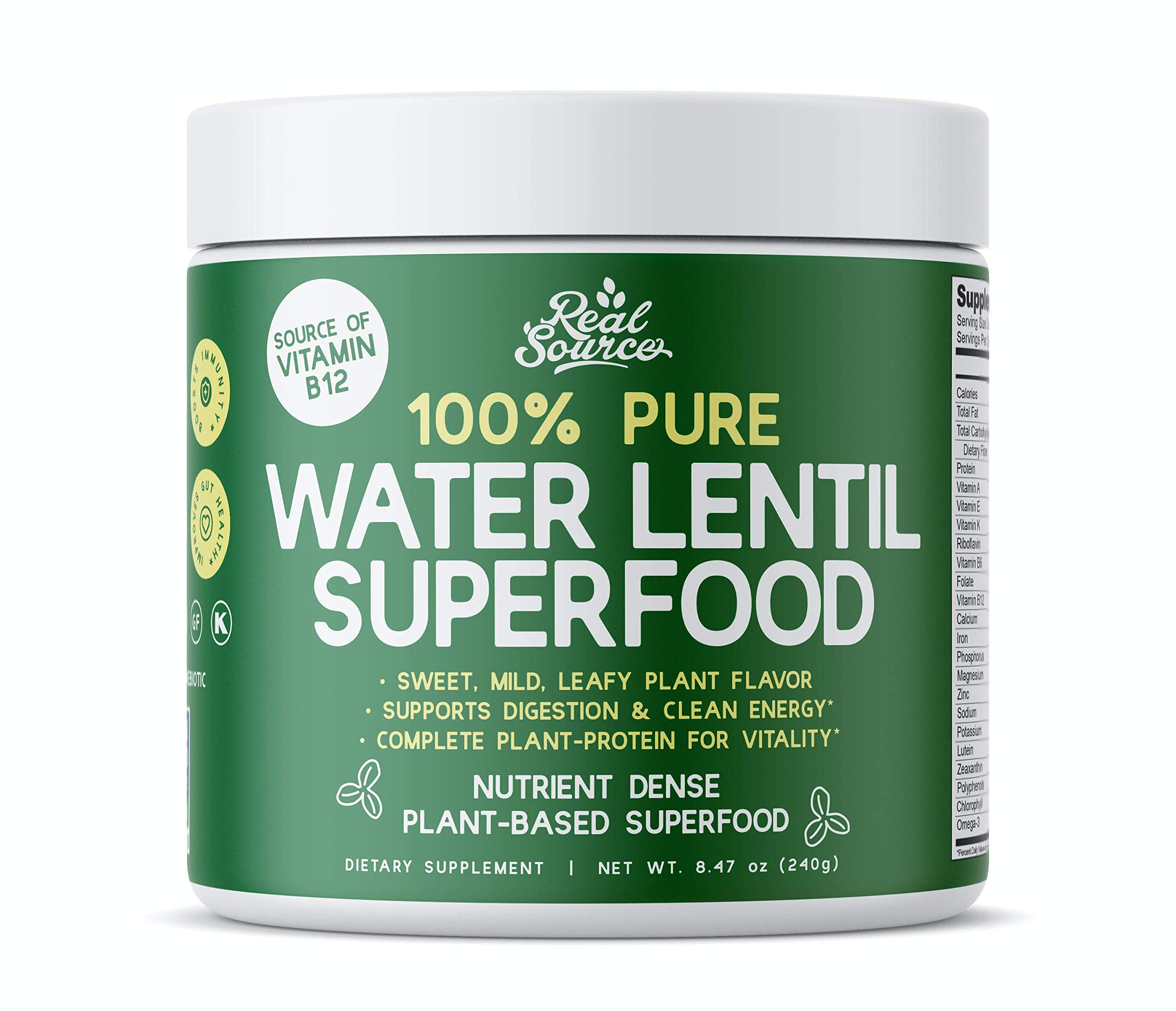 Real Source Water Lentil Superfood Daily Veggie Juice Powder. Made in USA, Sustainable, Supergreen Protein and LENTEIN Duckweed Supplement for Smoothies Vegan, Gluten Free, 10 Servings, 240g