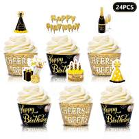 Happy Birthday Cupcake Wrappers Beer Cupcake Toppers Cheers & Beers theme for Men Women's 21 25 30 40 50 60 70 80 Years Birthday Party Double Sided Cake Decorations Set of 24