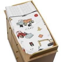 Sweet Jojo Designs Construction Truck Boy Baby Nursery Changing Pad Cover - Grey Yellow Orange Red and Blue Transportation Chevron Arrow