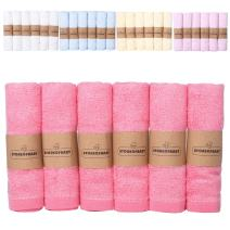 """Storeofbaby Newborn Baby Washcloths Bamboo Towels Reusable Wipes Bibs 100% Natural Perfect for Sensitive Baby Skin Pinkrose Pack of 6 10""""x10"""""""