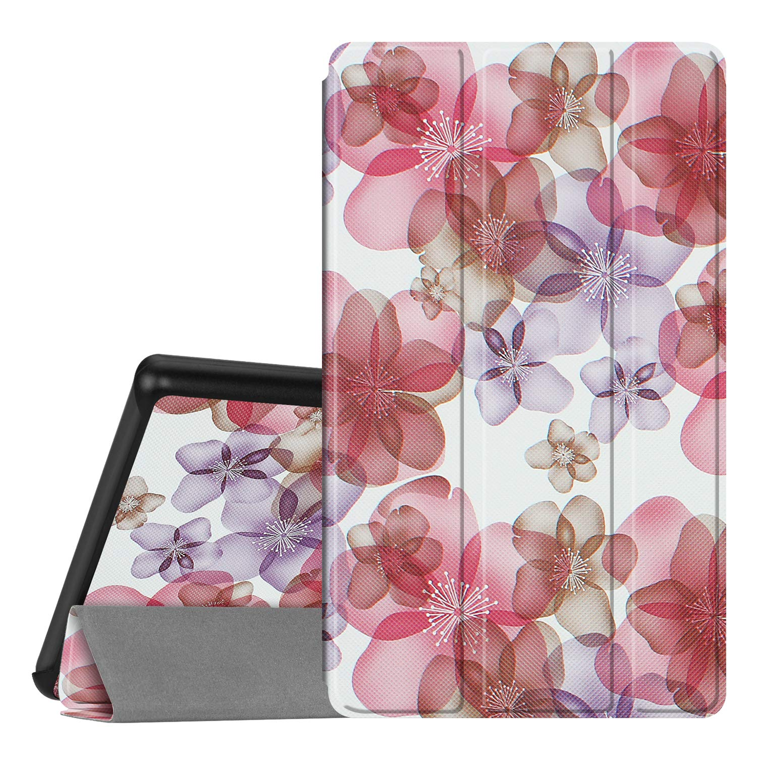 Fintie Slim Case for All-New Amazon Fire 7 Tablet (9th Generation, 2019 Release), Ultra Lightweight Slim Shell Standing Cover with Auto Wake/Sleep, Silk Flowers