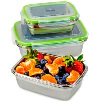 JaceBox Stainless Steel Lunch Containers - LunchBox Container Set LeakProof Light Easy Stainless Steel Food Containers Storage Set of 3 Stackable Bento Box Eco-Friendly Keto Lifestyle! BPA FREE