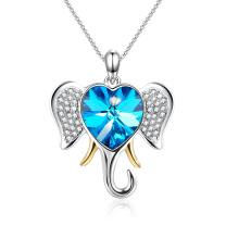 Angelady Christmas Lucky Elephant Pendant Animal Necklace with Blue Heart Shape Crystals from Swarovski, Wife Girlfriend Birthday Party Jewelry Gifts for Mom