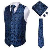 Hi-Tie Men's 4pc Waistcoat Vest Necktie Pocket Square Cufflinks Set for Suit or Tuxedo More Color for Choose