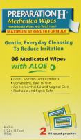 Preparation H Flushable Medicated Hemorrhoid Wipes, Maximum Strength Relief with Witch Hazel and Aloe, Pouch (2 x 48 Count, 96 Count)