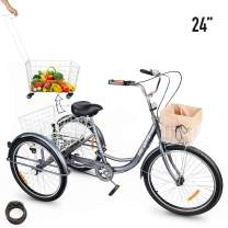 """3-Wheeled Adult Tricycle with Removable Basket, 24""""/26"""" Wheels Trike for Men and Women, Single Speed Cruise Bike, Exercise Bike for Recreation and Shopping, Water-Proof Bag and Bicycle Bell"""