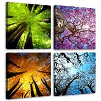 MESESE Art 4 Panels Canvas Wall Art Spring Summer Autumn Winter Four Seasons Landscape Color Tree Painting Picture Prints Modern Giclee Artwork Stretched and Framed for Living Room Home Decoration