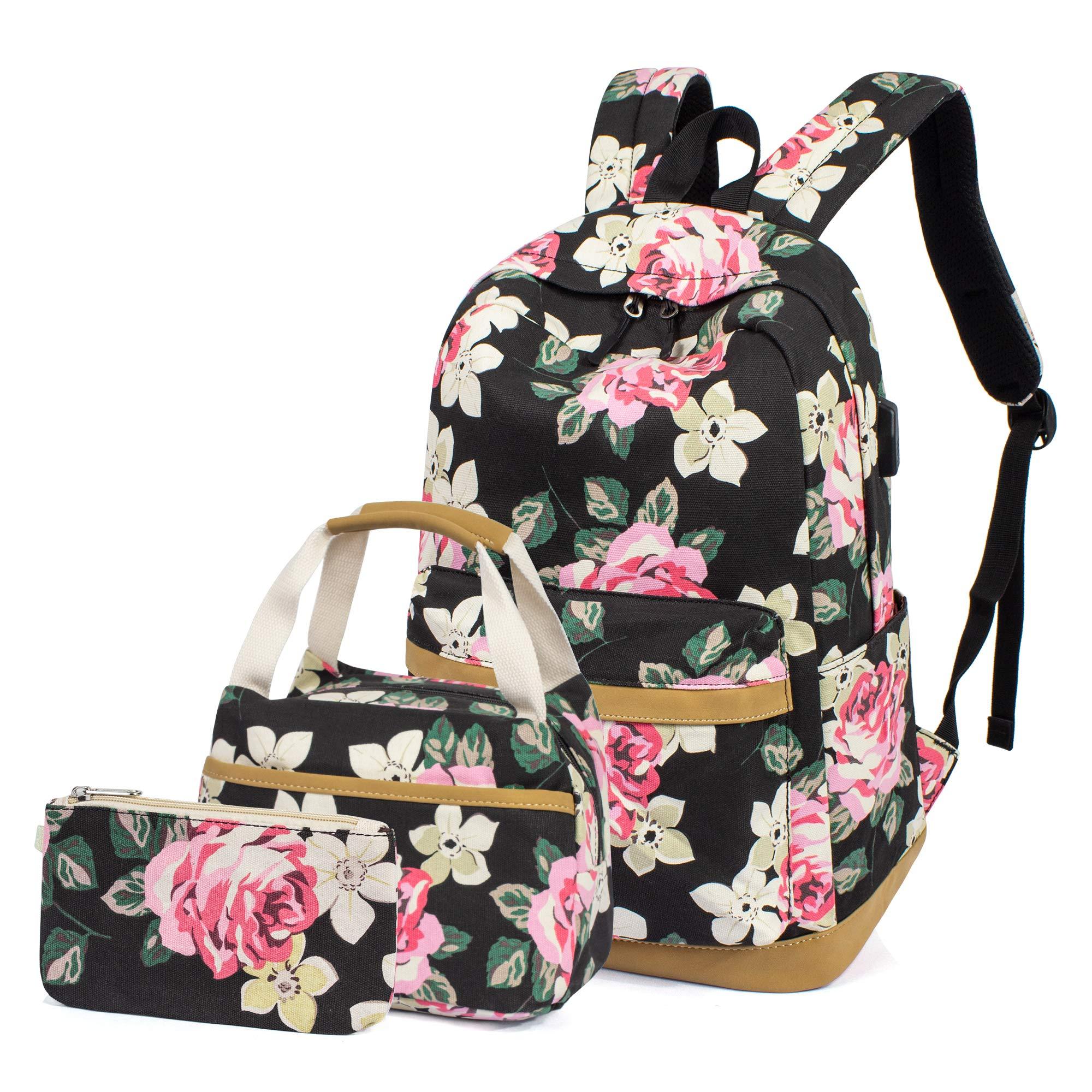 H HIKKER-LINK Floral School Backpack Set Bookbag Lunch Handbag Pencil Case 3pcs