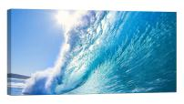 LightFairy Glow in The Dark Canvas Painting - Stretched and Framed Giclee Wall Art Print - Beach Ocean Big Wave - Master Bedroom Living Room Decor - 46 x 24 inch