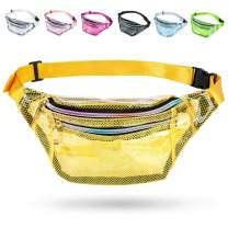 Wehllev Grid Clear Fanny Pack, Fanny Packs for Women Cute Fanny Pack for Kids & Girls with 3 Pouches, Adjustable Belt, Fashion Men Waist Bags, Durable Hip Bag Bum Bags