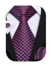 Barry.Wang Fashion Men Tie with Handkerchief Cufflink Necktie Set Woven Silk