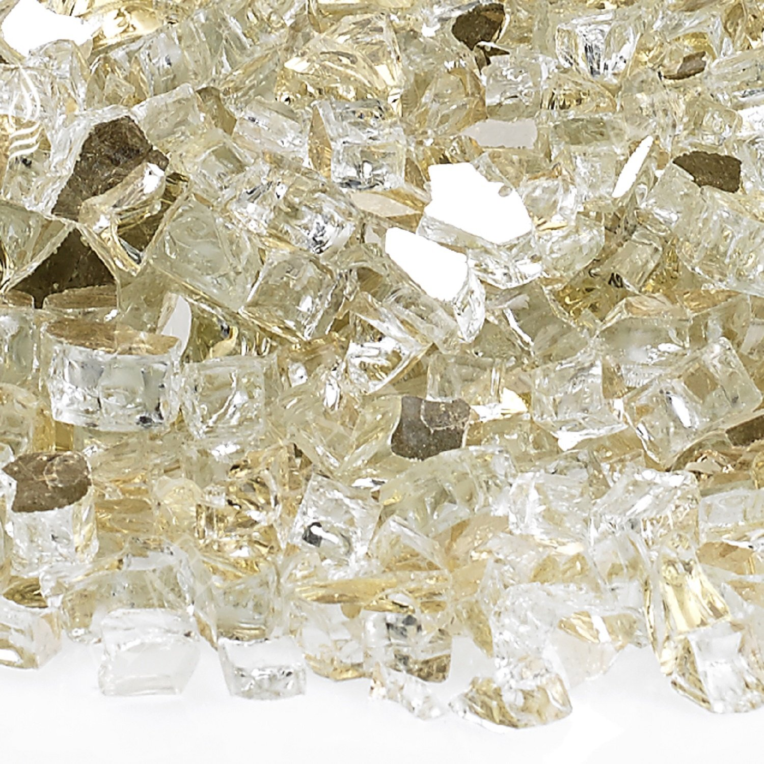 American Fireglass 10-Pound Reflective Fire Glass with Fireplace Glass and Fire Pit Glass, 1/4-Inch, Gold