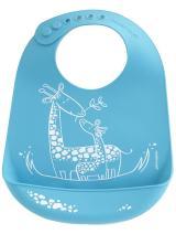 modern-twist Bucket Bib 100% plastic free silicone waterproof, adjustable, dishwasher safe, Bucket Bib, Blue Giraffe Giggles