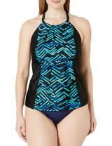Amazon Brand - Coastal Blue Women's Plus Size Highneck Halter Tankini Top with Strappy Back