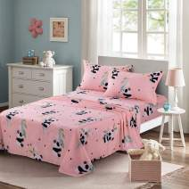 KFZ Full Size Sheets Set –Soft Egyptian Quality Brushed Microfiber Bed Set - Pink, Panda Bear Print 4 Pieces Bedding with 1 Fitted Sheet, 1 Flat Sheet, 2 Pillowcases for Boys Girls Teens