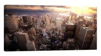 LightFairy Glow in The Dark Canvas Painting - Stretched and Framed Giclee Wall Art Print - City Urban New York Skyline - Master Bedroom Living Room Décor - 32 x 16 inch