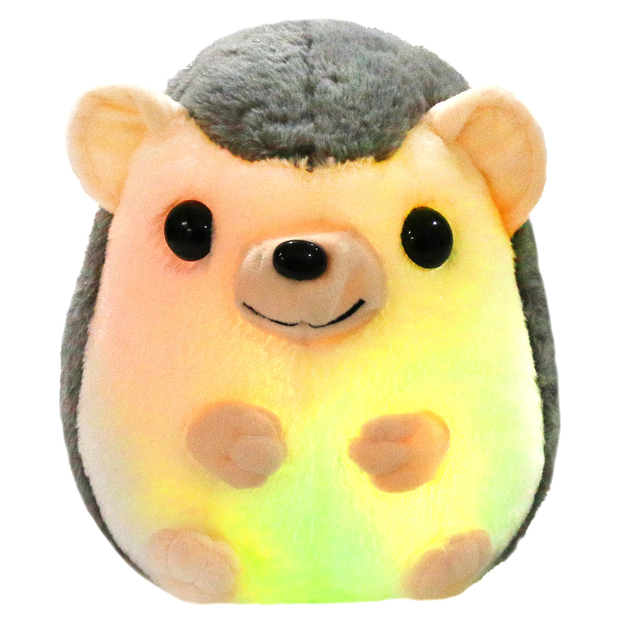 Bstaofy LED Hedgehog Stuffed Animal Glow Small Plush Toy Light up Nightlight Bedtime Gift for Toddlers Kids on Birthday Christmas, 10''