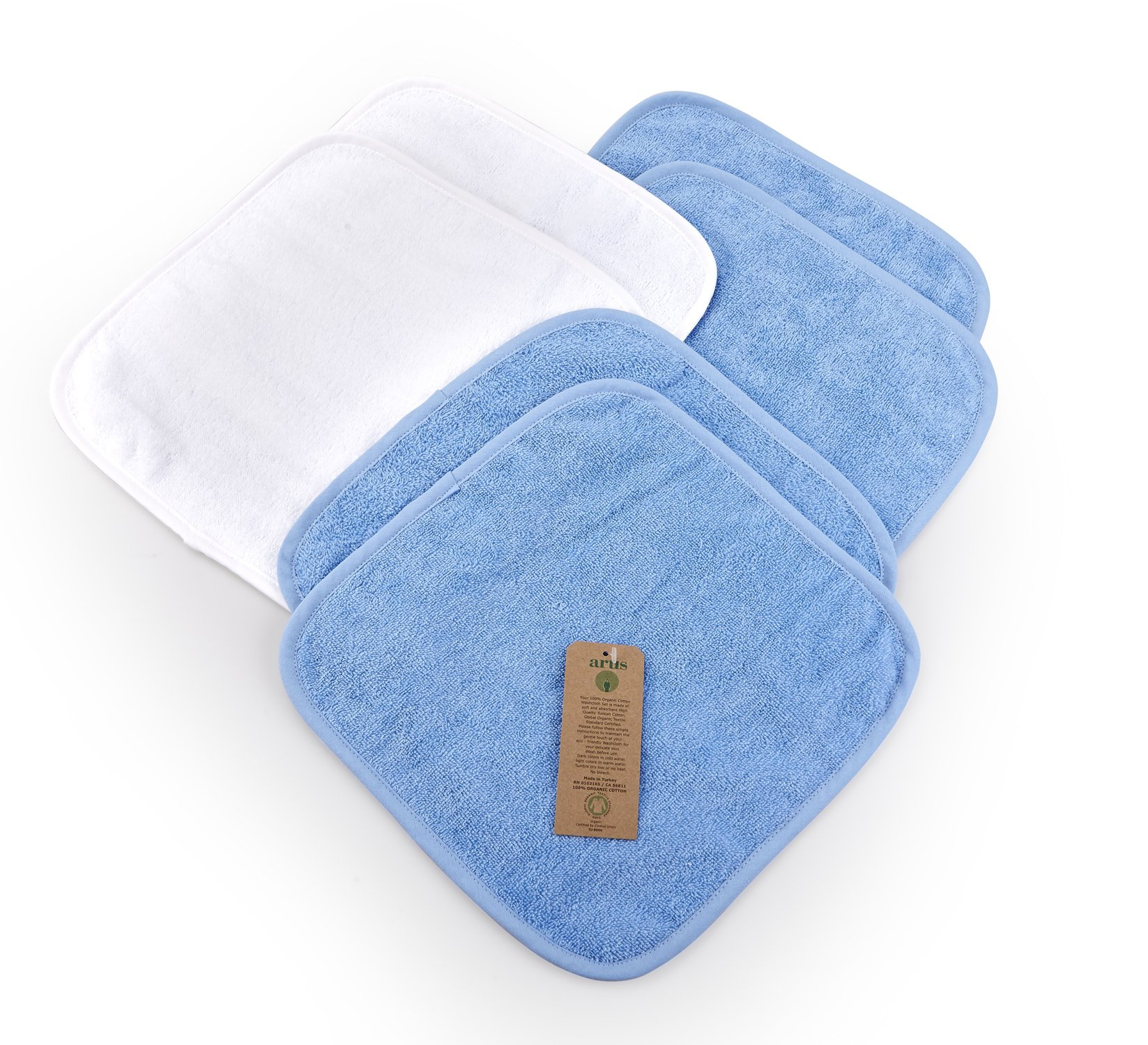 "Arus Baby Organic Turkish Cotton Soft Sensitive Natural Washcloths, 6 Pack (4 Blue, 2 White), 12""x12"""