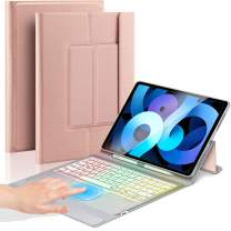 Touch Keyboard Case with Trackpad for 10.9 inch iPad Air 4 2020, Slim Folio Backlights iPad Case with Keyboard - Rose Gold