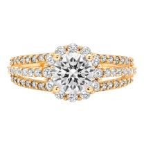 Clara Pucci Brilliant Round Cut Halo Solitaire Anniversary Engagement Wedding Bridal Promise Ring Solid 14k Yellow Gold, 1.83CT