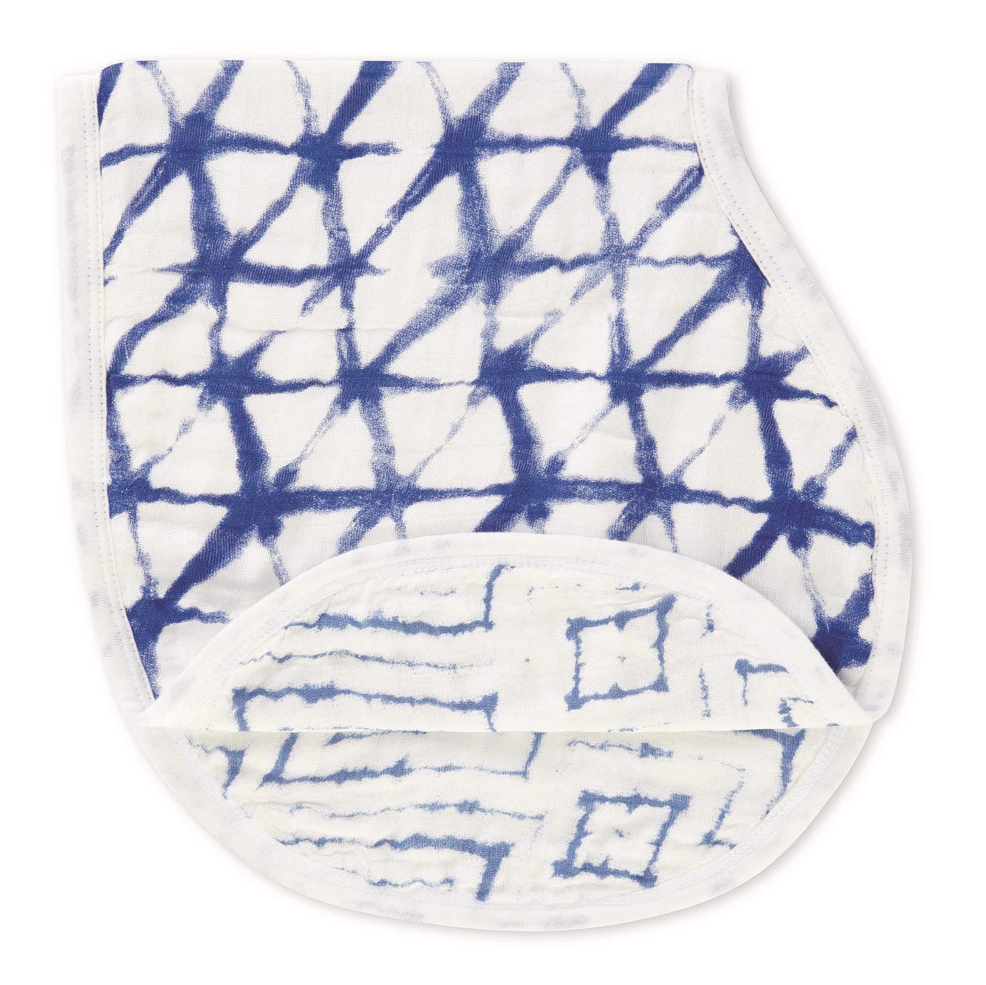 "aden + anais Silky Soft Burpy Bib, 100% Viscose bamboo Muslin, Soft Absorbent 4 Layers, Multi-Use Burp Cloth and Bib, 22.5"" X 11"", Single,  Indigo Shibori"