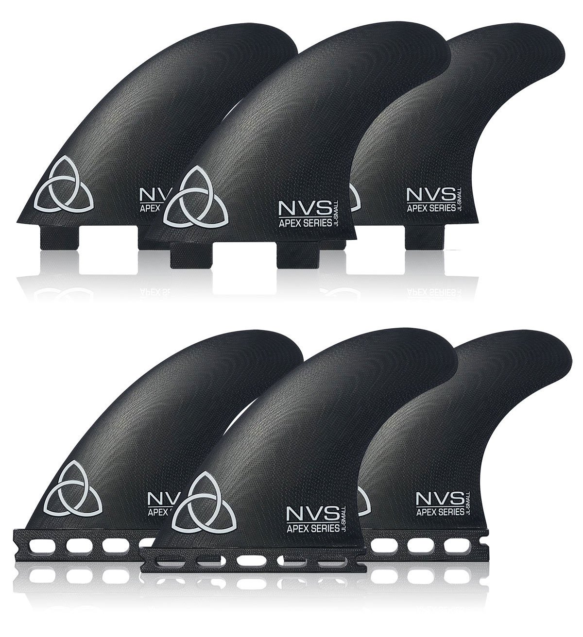 Naked Viking Surf Small JL Apex Series Surfboard Fins, (Set of 3) FCS & Futures