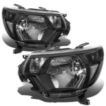Replacement for 12-15 Tacoma 2nd Gen Facelifted Pair of Black Housing Clear Corner Headlights