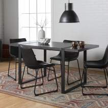 Walker Edison Furniture Company Industrial Modern Wood Rectangle Dining Room Table Set Kitchen Leather Chairs, Charcoal