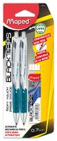 Maped Black'Peps Automatic Mechanical Pencil, 0.7mm with Lead & Eraser Refills, Pack of 2, Assorted Colors (559949)