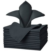VEEYOO Cloth Napkins - Set of 12 Pieces 17 x 17 Inch Solid Polyester Table Napkins - Soft Washable and Reusable Dinner Napkin for Weddings, Parties, Restaurant (Dark Gray Napkins Cloth)