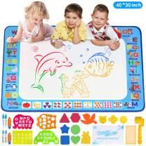 Adsoner Water Magic Mat, Aqua Drawing Magic Mat, Water Painting Doodle Mat with 6 Magic Pens Developmental Educational Toys for Toddlers Kids (40 X 30 Inches)