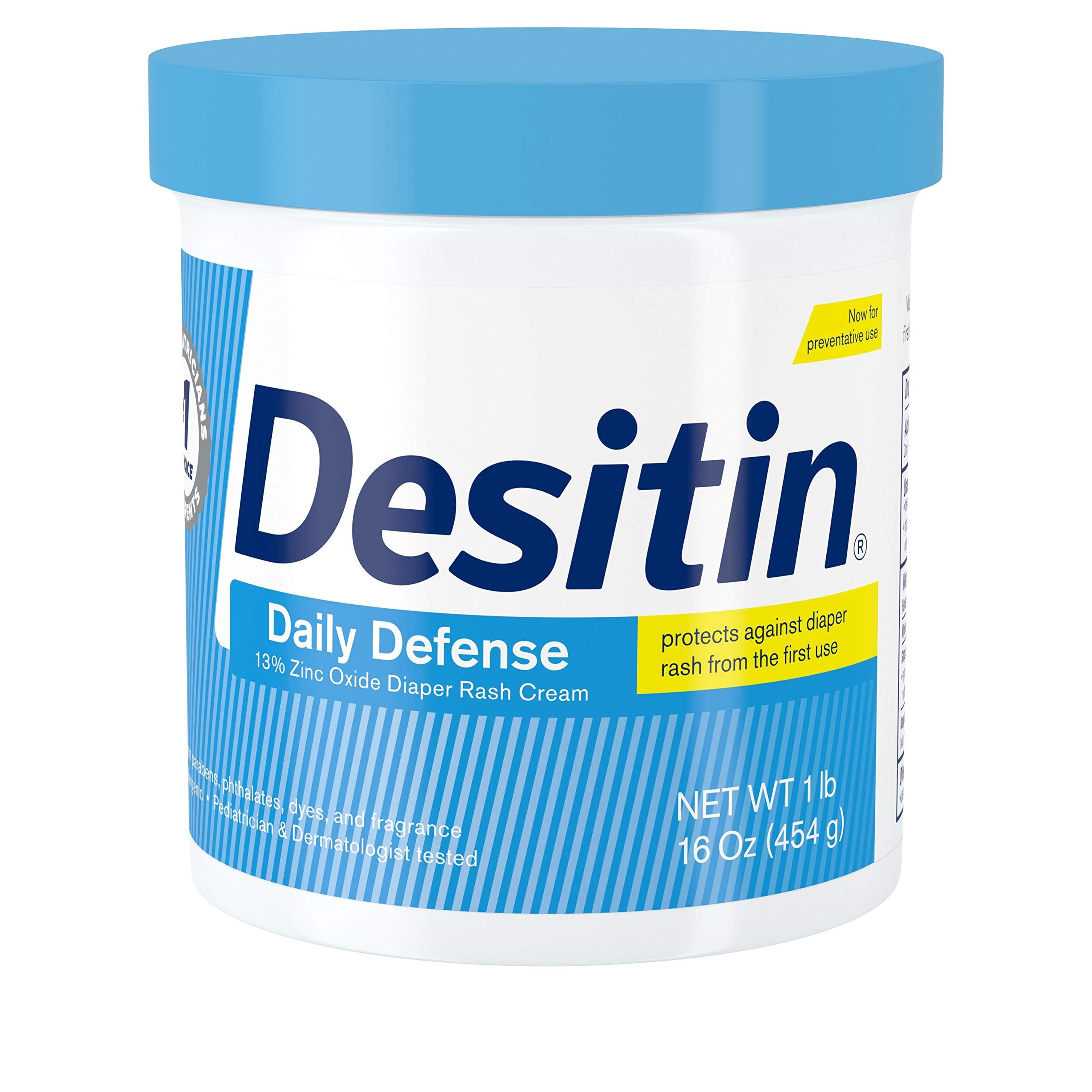 Desitin Daily Defense Baby Diaper Rash Cream with Zinc Oxide to Treat, Relieve & Prevent diaper rash, Hypoallergenic, Dye-, Phthalate- & Paraben-Free, 16 oz, Ivory