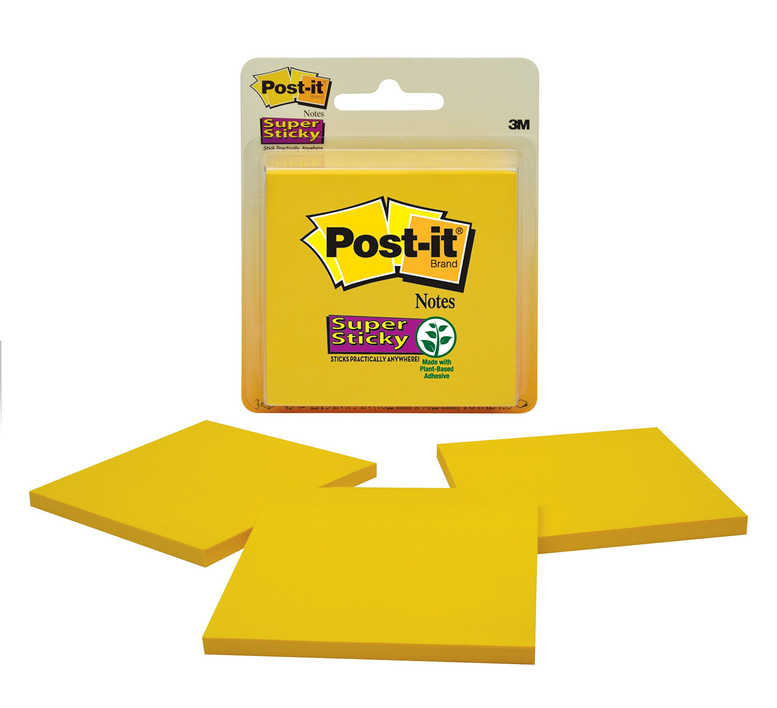 Post-it Super Sticky Notes, 2x Sticking Power, 3 x 3-Inches, Canary Yellow, 3-Pads/Pack