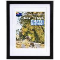 """Beyond Your Thoughts Wood + Real Glass (Hang/Stand) 11""""X14"""" Black Picture Photo Frame with Matted for 8""""X10"""" or 9""""x12"""" Photo for Wall and Table Top-Mounting Hardware Included(1 Pack)"""