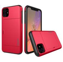 MUSEZ iPhone 11 Case, Hybrid iPhone 11 Wallet Case Card Holder Shell Heavy Duty Protection Shockproof Anti Scratch Soft Rubber Bumper Cover Case for iPhone 11 6.1 inch (RED)