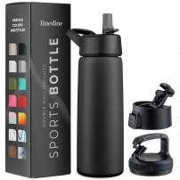 Triple Insulated Stainless Steel Water Bottle With Straw Lid - Flip Top Lid - Wide Mouth Cap (25 oz) Insulated Water Bottles, Keeps Hot and Cold - Sports Canteen Water Bottle Great for Hiking & Biking