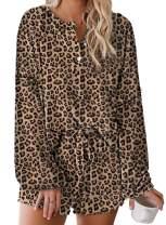 Asvivid Womens Tie Dye Printed Ruffle Short Lounge Set Long Sleeve Tops and Shorts 2 Piece Pajamas Set Sleepwear