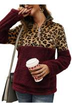 Angashion Womens Long Sleeve Half Zip Up Warm Fuzzy Leopard Print Patchwork Fleece Pullover Tops with Pocket for Winter
